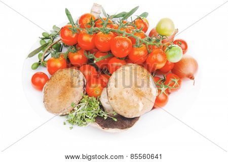 raw vegetables on plate ready for process