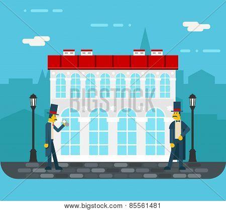 Meeting gentlemen old city street icon on stylish background flat design vector illustration