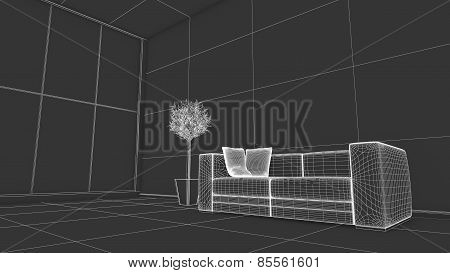 Side View Of An Interior Rendering Of A Living Room In Wireframe