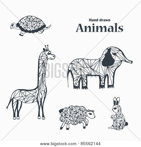 Sketch of Black and White Animals