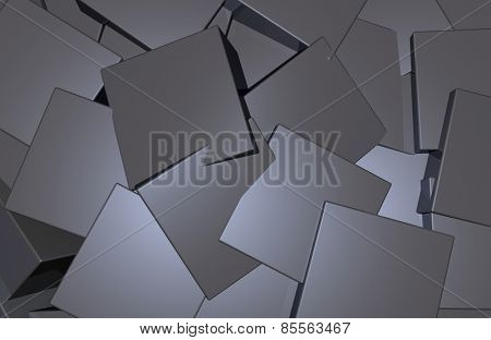 Black plastic blocks abstract background