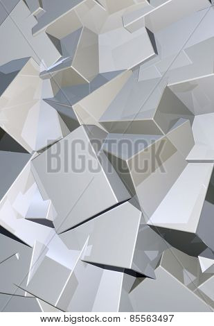Chrome or steel blocks abstract background