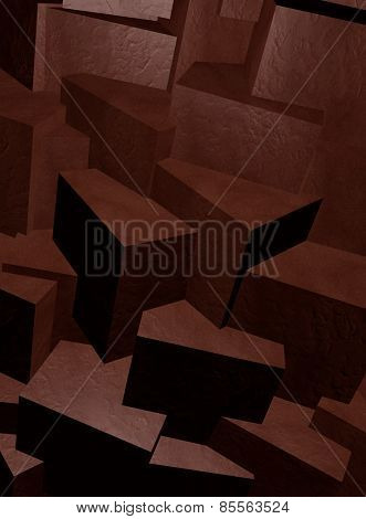 Black stone blocks abstract background