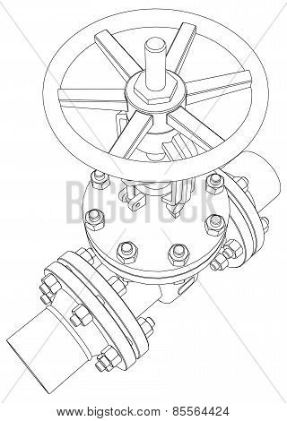 Industrial valve. Vector rendering of 3d