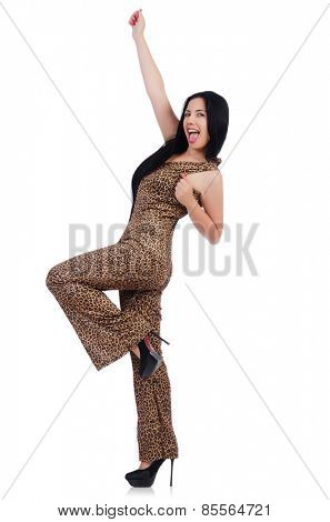 Young model in leopard prints suit isolated on white