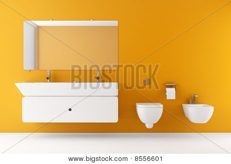 modern bathroom with orange wall and white equipment