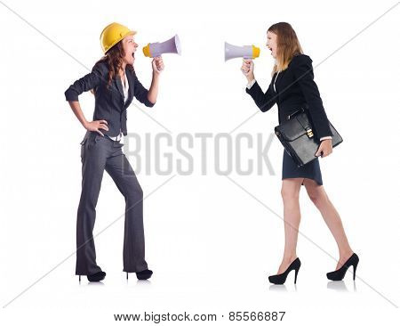 Businesswoman with loudspeaker and bag isolated on white