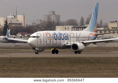 Flydubai Boeing 737 Next Gen aircraft running on the runway