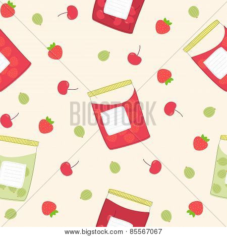 Jars with jam, seamless pattern