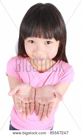 Young girl presenting copy space
