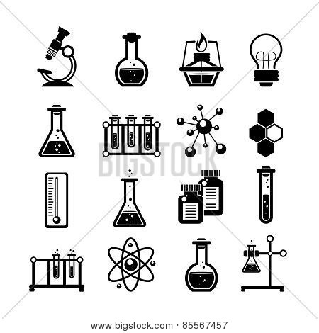 Chemistry icons set black