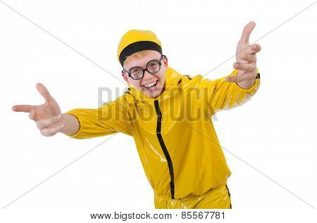 Man in yellow suit isolated on white