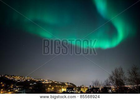 Aurora Borealis Cityscape