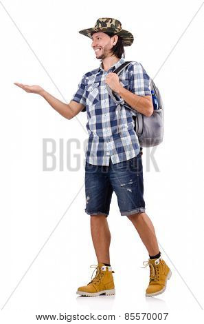 Young traveller with backpack holding isolated on white