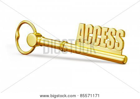 Access concept - golden access key made of gold isolated on white background