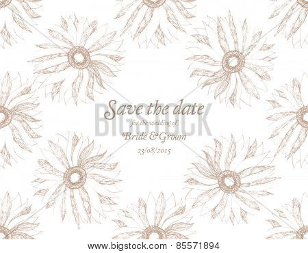 Save The Date Wedding invitation Card with flower