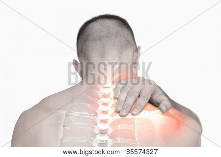 Digital composite of Highlighted shoulder pain of man