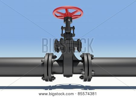 Black industrial valves and pipe with shadow