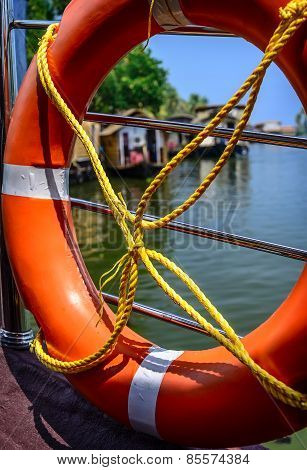 Life buoy in a harbor.