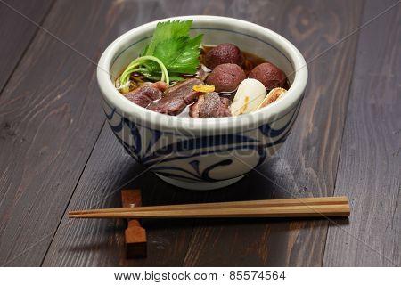 kamo nanban soba, buckwheat noodles with duck and leeks, japanese cuisine