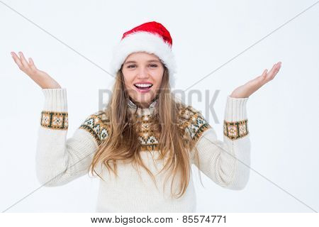 Smiling hipster looking at camera on white background