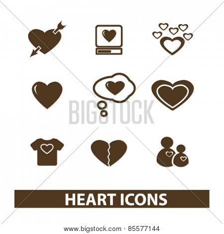 heart, love, relations isolated icons, signs, illustrations collection concept design set for web and application on background, vector