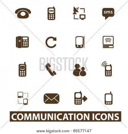 communication, connection isolated icons, signs, illustrations collection concept design set for web and application on background, vector