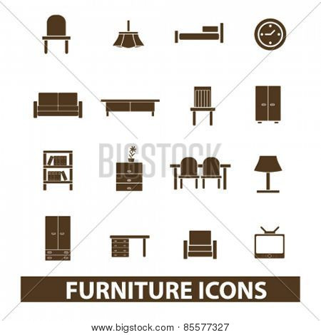 furniture, home interior isolated icons, signs, illustrations collection concept design set for web and application on background, vector