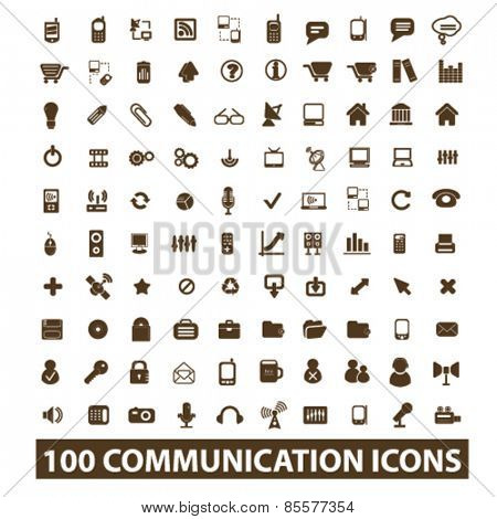 100 communication, connection, technology isolated icons, signs, illustrations collection concept design set for web and application on background, vector