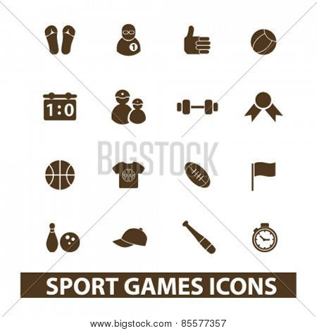 sport, games isolated icons, signs, illustrations collection concept design set for web and application on background, vector