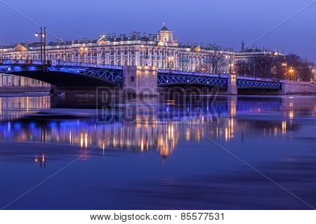 Palace Bridge And The Building Of The Hermitage At Night, St. Petersburg