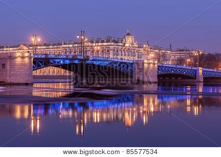 Palace Bridge And The Building Of The Hermitage, St. Petersburg
