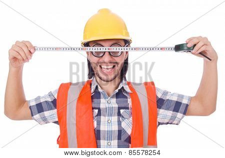 Funny constructon worker with tape-line isolated on white