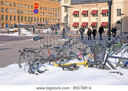 Helsinki. Finland. Bikes near Central Railway Station