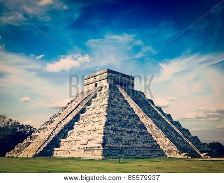 Vintage retro effect filtered hipster style image of Mexico travel background famous mexican landmark - anicent Maya mayan pyramid El Castillo (Kukulkan) in Chichen-Itza, Mexico
