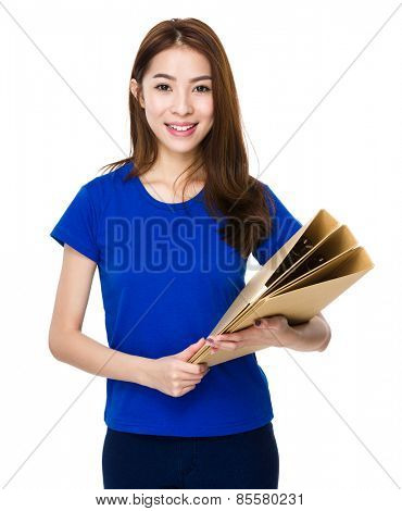 Student hold with her document work