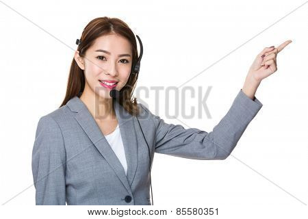 Customer services officer with finger point upwards