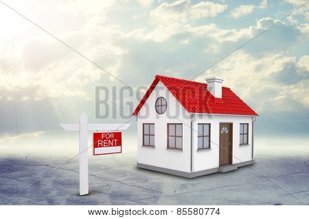 White house with red roof and chimney. Near there is signboard for rent. Background sun shines brigh