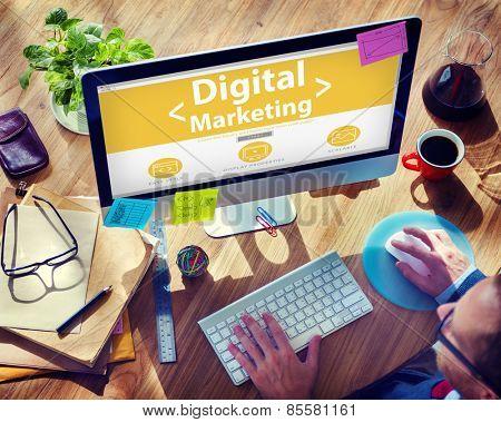 Digital Marketing Online Working Office Concept