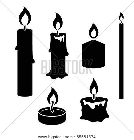 Set of black and white silhouette burning candles
