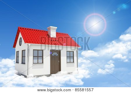 White house with red roof, brown door and chimney in clouds. Background sun shines brightly