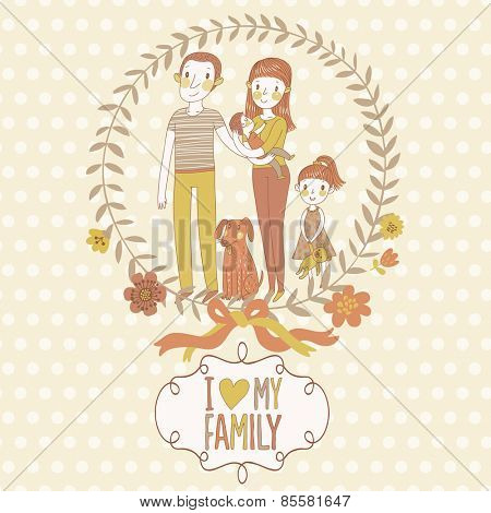 Happy family in vector. Family concept card with father, mother, daughter, baby and funny dog