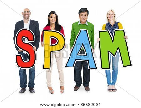DIverse People Holding Text Spam