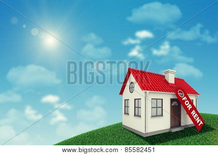 White house with red roof and chimney on green grassy hill for sale. Background sun shines brightly,