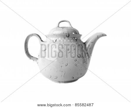White porcelain Teapot with water drops isolated on white background