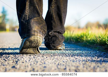 walking on the road