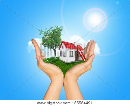 Hands holding house on green grass with label for sale red roof, chimney, tree, wind turbine. Backgr