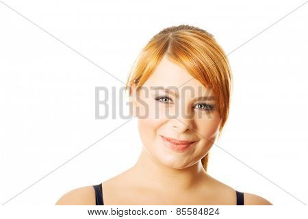 Portrait of happy overweight woman