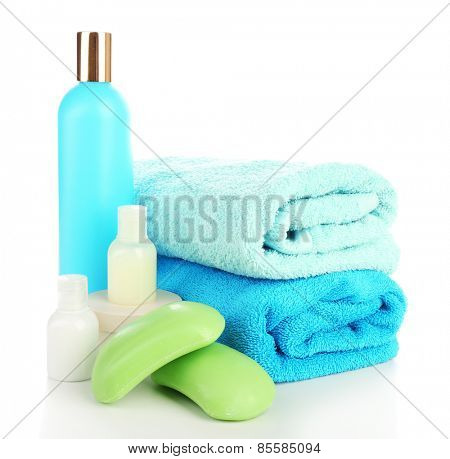 Still life with terry towels isolated on white