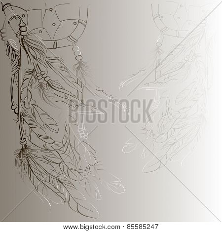 Dreamcatcher Vector Background, Beige,eps10